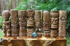 Ultimate Set of 8 Premium Monkey Pod Wood Outdoor Tiki Totems Statues Natural Color Monkey Pod Wood, Tiki Statues, Tiki Totem, Hawaiian Tiki, Hand Wax, Luau Party, Oahu Hawaii, Wood Colors, Natural Wood