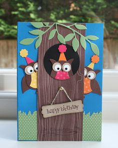 Stampin' 'n Stuff: owl punch, front of the pop out card by Jo Dumbleton