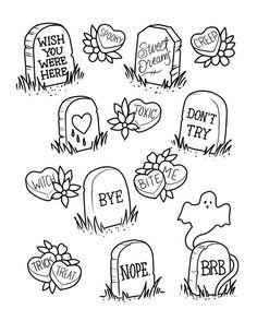 Halloween Date, Halloween Film, First Halloween, Cute Halloween Tattoos, Halloween Tattoo Flash, Spooky Tattoos, Halloween Costumes, Flash Art Tattoos, Tattoo Flash Sheet