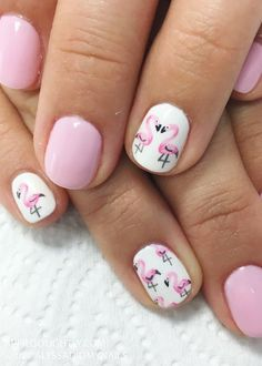 There are a variety of unique nail art designs. Flamingo nail design seems to be the best trend in the current season. Flamingos on white or pink backgrounds are great nail art designs. Of course, Flamingo Nail design is not limited to this, nail art Flower Nail Designs, Nail Designs Spring, Toe Nail Designs, Fruit Nail Designs, Fingernail Designs, Nails Design, Flamingo Nails, Pink Flamingos, Fruit Nail Art
