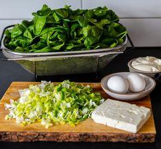 Filodegspaj med spenat och fetaost - Zeinas Kitchen Zeina, Lchf, Spinach, Bakery, Recipies, Food And Drink, Dinner, Vegetables, Tacos