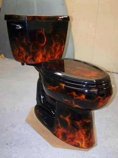 Hot seat, burning ring of fire...lots of witty one liners, but the paint job on this is great.  Would make a statement in the right bathroom.