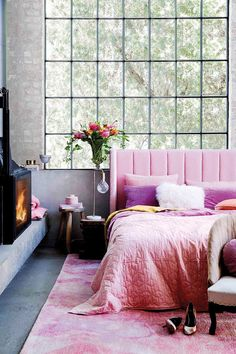 House Beautiful Magazine Living Room Bedrooms New Ideas Bedroom Layouts, Bedroom Sets, Living Room Bedroom, Living Room Interior, Home Bedroom, Home Interior Design, Bedrooms, Cosy Fireplace, Bedroom Fireplace