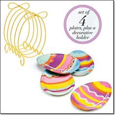 """new  Easter Appetizer Plates with Holder Set of four festive appetizer/dessert plates with a decorative metal holder. Ceramic plates, approx. 7"""" diam. Holder, metal and iron. Plates, dishwasher and microwave-safe. Holder, wipe clean. Imported. Item#: 211-900 Brochure: $19.99 the set www.youravon.com/denisearnold"""