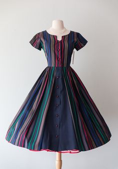 Vintage 1950s Dress - 50s Striped Taffeta Full Skirt Party Dress With Cap Sleeves And Red Buttons By Ro Nel // Waist 27 by xtabayvintage on Etsy