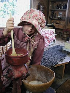 A Mountain Hearth: Little House on the Prairie Camp - grinding wheat