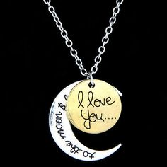 D37 I Love You To the Moon & Back Silver & Gold Charm Medallion Necklace