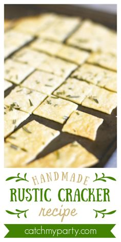 These homemade rustic crackers are delicious by themselves, with cheese or dipped in your favorite dip. Plus, you can add herbs, spices, or just plain kosher salt to add some pizzazz. They are simple to make and great to make with kids. Veggie Recipes, New Recipes, Cooking Recipes, Favorite Recipes, Homemade Crackers, Rustic Cake, Food N, Main Meals, Pain