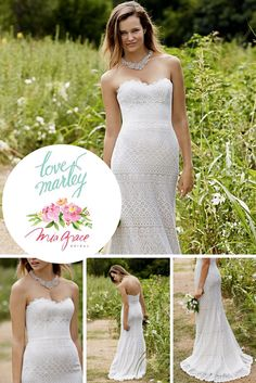 Mia Grace Bridal loves this unique gown by Love Marley! This gorgeous gown has exquisite lace accented by a strapless sweetheart neckline. This gown would look beautiful at a country wedding. #Bridalgowns #LoveMarleyGown #LaceGowns #StraplessGowns #CountryWedding