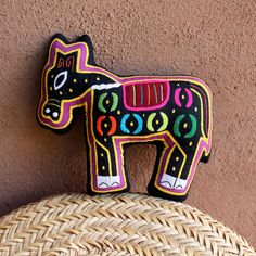 Precious Mola Pony Pillow - Hand Sewn Kuna Indian Reverse Applique