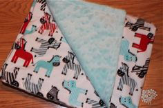 Zebra Zoo Blue White and Red Minky Blanket - 30 x 36 - #SewInLoveWithBaby
