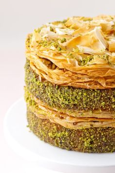 My next birthday cake: Pistachio Baklava Cake. Friends, you have approximately half a year to learn how to make this. Love you all.