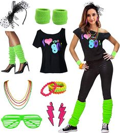 Womens I Love The Disco Costume Outfit Accessories Best Halloween Costumes & Dresses USA Costume Année 80, Best 80s Costumes, 80s Party Costumes, 80s Halloween Costumes, Halloween Kostüm, Costumes For Women, Easy 80s Costume, Disco Costume For Women, Disco Girl Costume