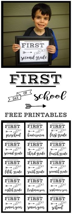 First Day of School Sign Free Printable poster. Preschool, Kindergarten, First Grade, through Senior year. Print this sign for back to school…