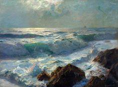 Sea and Rocks, Moonlight by Albert Julius Olsson