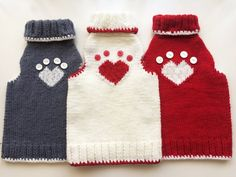 **Handmade knitting HeartPaw sweater for cats, small dogs, and puppies** ***Unipet *** cats and dogs both can wear the sweater This clothing is warm, comfortable and easy to wear. It is a perfect gift for Saint Valentines Day and also for the entire winter. Made of acrylic (red, white or dark