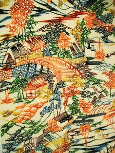 RARE 67 long..... Vintage Japanese bingata by CosimaOrimono, $60.00