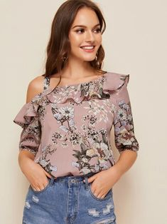 To find out about the Floral Print Asymmetrical Neck Ruffle Foldover Top at SHEIN, part of our latest Blouses ready to shop online today! Look Fashion, Fashion News, Girls Fashion Clothes, Fashion Outfits, Spring Tops, Blouses For Women, Ladies Blouses, Types Of Sleeves, Blouse Designs