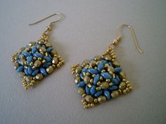 High Fashion Blue/Gold Hand Beaded Statement by JazzyDazzleJewelry