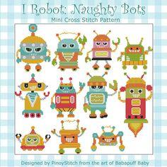 I Robot  Naughty Bots  Minis Cross Stitch PDF Chart от PinoyStitch, $7.50