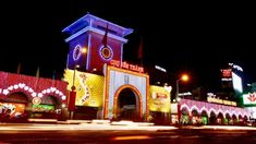 Ben Thanh Market at night with bright lights
