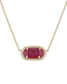 Maroon jade pairs perfectly with a gold silhouette in the classic Kendra Scott Elisa Pendant Necklace.