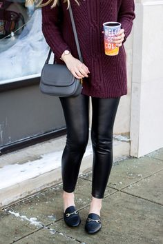 Perfect sweater for tall girls | Cable tunic turtleneck sweater for women | burgundy long sweater and leather leggings | winter outfit ideas #tunicsandleggingsforwomen