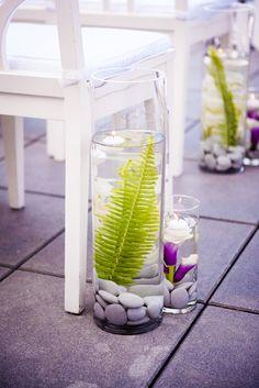 Fern and Orchid Arrangement, Aisle Decoration | Liz Caruana Weddings…