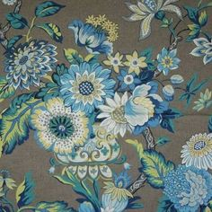 LOVE. Waverly Graceful Garden Blue Jay Jacobean Floral