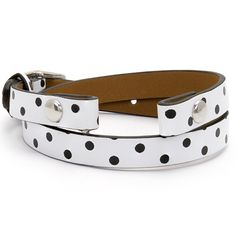 """POLKA DOT GENUINE LEATHER WRAP BRACELET: 6 - 7 1/4"""" It's time to get spotted—with polka dots! This lovely Polka Dot Genuine Leather Wrap Bracelet is the perfect accessory for anyone with a fun sense of style. Add the """"Let It Go"""" Silver Expression Frame to represent your positive—and beaming—outlook on life."""