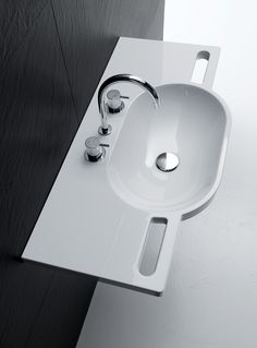 Simple in its design, form and function – this beautiful wall hung basin with cut-out hand grips can help users to have greater support and stability in the bathroom. Image 048.