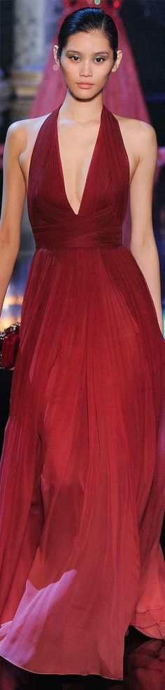 Red gown, beautiful.