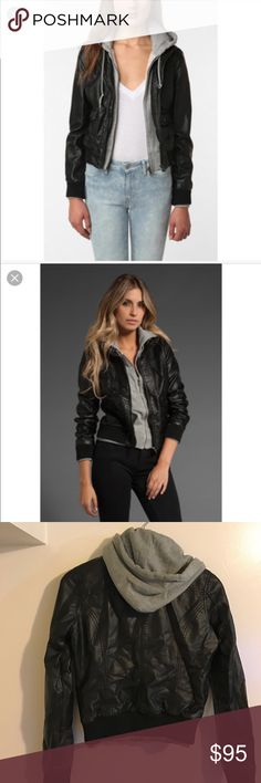 Obey jealous lover jacket Worn 2 times, black pleather with grey attached hoodie jacket itch 2 zippers, gunmetal hardware Obey Jackets & Coats
