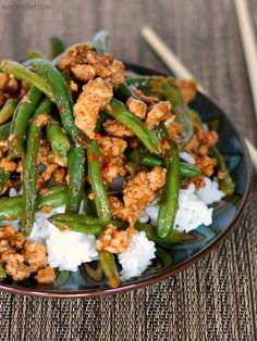 Healthy Chinese Green Beans with Ground Turkey over Rice #healthy #dinner