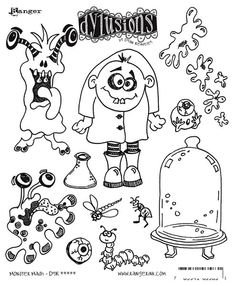 Dylusions - Rubber Stamps - Monster Mash Red rubber stamps mounted on EZmount with index sheet for easy storage approx 7 x 8 1 2 These stamps are