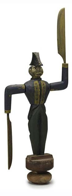 French soldier whirligig, painted wood with sword paddles, dated 1858