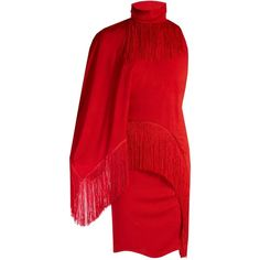 Givenchy Fringed One-Shoulder Dress ($2,995) ❤ liked on Polyvore featuring dresses, kirna zabete, kz red, kzloves, red fringe dress, slimming cocktail dresses, givenchy dress, sleeveless dress and high neck cocktail dress