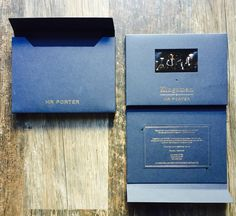 """We were delighted to collaborate with the Mr Porter team again, designing & creating another stylish VideoPak to add to their range. The luxury VideoPak invitation to the opening of the new Kingsman & Mr Porter shop was made up of bespoke navy card & gold foil stamping. The pack included a personal invitation to the event, a matching branded mailer and an HD 4"""" screen playing a trailer for the new film Kingsman : The Golden Circle A very stylish VideoPak for a very stylish event, hats off to the Film Kingsman, M Porter, Car Brochure, Foil Stamping, Golden Circle, Invitations, Brochures, Gold Foil, Bespoke"""
