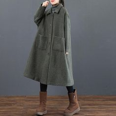 Elegant Striped Long Thick Overcoat Women Casual Outfits 3820– FantasyLinen
