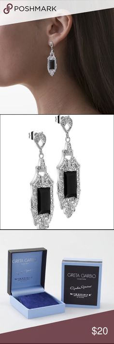 Greta Garbo Drop Earrings Silver plated drop earrings with a protective anti tarnish layer, black agate surrounded by 46 clear Cubic Zirconia stone settings, titanium posts, butterfly backs, presented in a Newbridge Silverware Garbo collection gift box. Size 50mm x 16mm. Made in Ireland. Newbridge Silverware Jewelry Earrings
