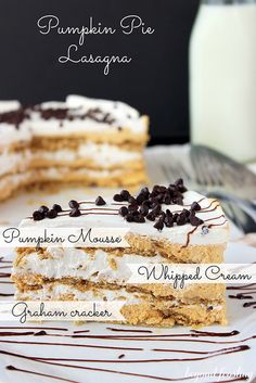 NO BAKE Pumpkin Pie Lasagna... It is layers of graham crackers, pumpkin mousse and whipped cream, topped with chocolate chips. You can whip this together in about 15 minutes!