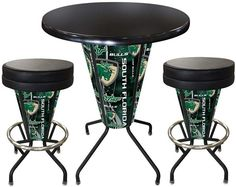 South Florida Bulls D1 Black Lighted Pub Table Set. Two additional Stools are optional. Visit SportsFansPlus.com for details.