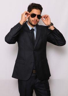 Slim Fit Men Suit Navy Blue Semi Shiny 2 Button Flat Front Pants Slim Fit Style | eBay $89