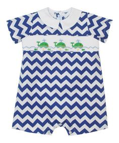 Loving this Royal Blue Zigzag Whales Smocked Romper - Infant on #zulily! #zulilyfinds