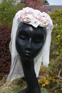 Bridal Headdress by Denice Gregory Silk Dupion roses, Freshwater Pearls, swarovski crystals, silk veiling