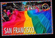 ¡Postal de San Francisco! La primera bandera gay fue creada para la marcha del orgullo de San Francisco en 1978 y tenía 8 bandas de color en lugar de las 6 actuales, En la plaza de Harvey Milk, en Castro, sigue ondeando una. ¡Seguro que los chicos de Looking conocen bien ese barrio! #sanfrancisco #eeuu