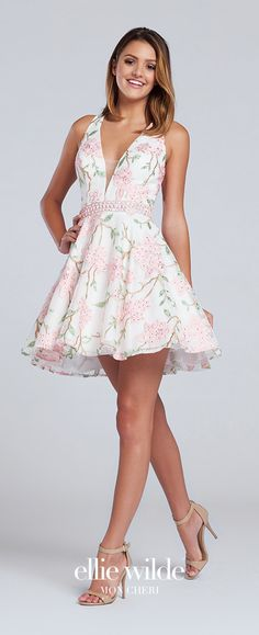 Prom Dresses 2017 - Ellie Wilde for Mon Cheri - ivory and pink short floral prom dress with halter V-neckline - Style No. EW117117