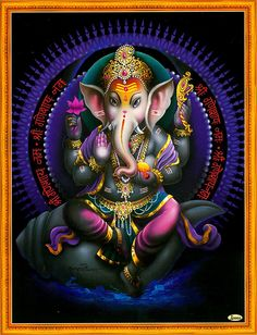 Ganesha Sitting on Conch - Hindu Posters (Reprint on Paper - Unframed) Ganesha Pictures, Ganesh Images, Lord Krishna Images, Ganesh Chaturthi Decoration, Ganesh Chaturthi Images, Ganesha Tattoo, Ganesha Art, Shiva Art, Hindus