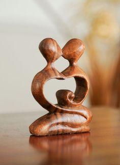 Fairtrade Dark Wooden Statue - Heart - 10 Cm | Fair Trade Gift Store | Siiren