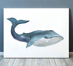 Nautical nursery wall decor Watercolor art Whale poster  ACW21
